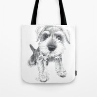 schnauzer Tote Bags featuring Schnozz the Schnauzer by Beth Thompson