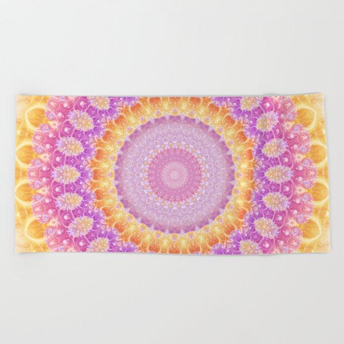 Mandala of Summer in Pink, Orange and Purple Beach Towel