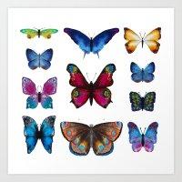 butterflies Art Prints featuring Butterflies by Katerina Izotova