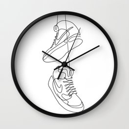 Sneakers simple minimal one line art, hanging shoes branded shoes  Wall Clock