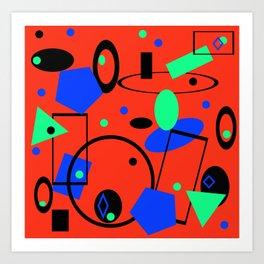 Retro abstract geometric design red print Art Print