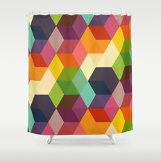 Retro Hexagonzo Shower Curtain