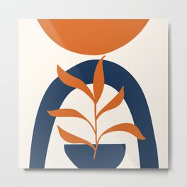 Abstract Shapes 58 in Orange and Navy Blue (Sun, Rainbow and Plant Abstraction) Metal Print