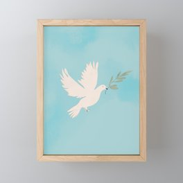 Dove of Peace with Olive Branch Framed Mini Art Print