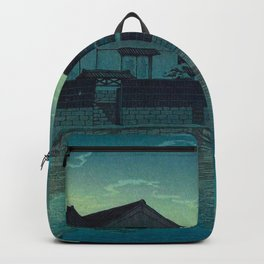 Kawase Hasui Vintage Japanese Woodblock Print Japanese Village Under Moonlight Cloudy Sky Backpack