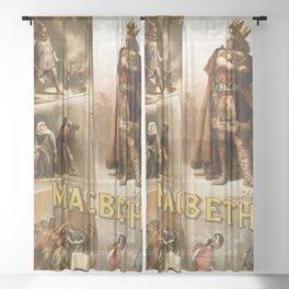 Vintage Macbeth Theatre Poster Sheer Curtain