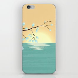 Delicate Asian Inspired Image of Pastel Sky and Lake with Silver Leaves on Branch iPhone Skin