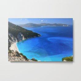 myrtos beach, kefalonia Metal Print