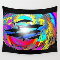 dolphins Wall Tapestries featuring Dolphins by JT Digital Art