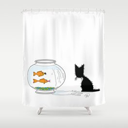 Gone Fishin' (The Naughty Kitten) Shower Curtain