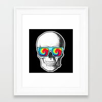 psychadelic Framed Art Prints featuring Psychadelic Skull Tiedye glasses by Chara Chara