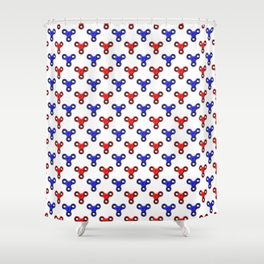 Finger Spinner Polka Dot Red and Blue Pattern Shower Curtain