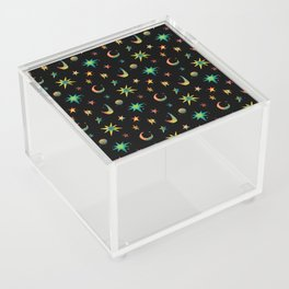 Colorful Watercolor Stars and Moons Pattern Acrylic Box