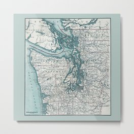 Puget Sound Map Metal Print