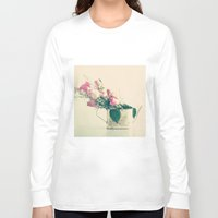 shabby chic Long Sleeve T-shirts featuring Shabby Chic Roses - Retro Vintage Pink Floral Photography on beige background by Caroline Mint