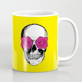 Skull and Roses | Skull and Flowers | Vintage Skull | Yellow and Pink | Coffee Mug