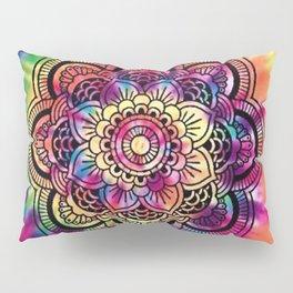 Trippy Rainbow Tiedye Mandala Pillow Sham