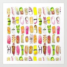 Sushi Watercolor-- Nigiri Sushi Art Print