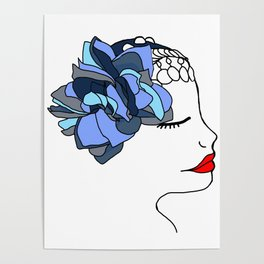 Blue Rose Headpiece Poster