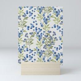 'Wild Blueberry'- Botanical Pattern (1) Mini Art Print