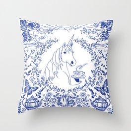 Blue Willow Tea Party Throw Pillow