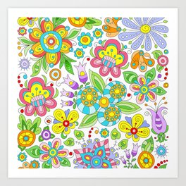 Background colorful flowers, doodleart, abstract graphic-desing vector pattern Art Print