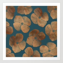 Abstract Metal Copper Flowers on Emerald Art Print