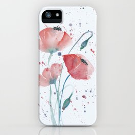 Red poppies in the sun floral watercolor painting iPhone Case