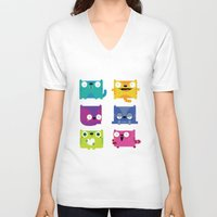 cats V-neck T-shirts featuring Cats by Maria Jose Da Luz