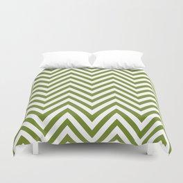 Zigzag Pattern, Chevron Pattern - White Green Duvet Cover