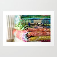 blankets Art Prints featuring Vintage Kantha Blankets by Nicole Jones
