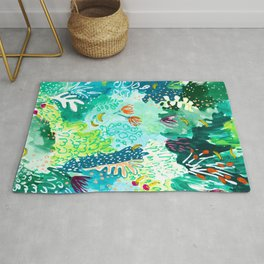 Twice Last Wednesday: Abstract Jungle Botanical Painting Rug