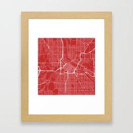 Minneapolis Map, USA - Red Framed Art Print