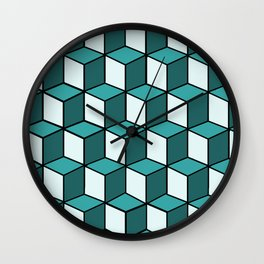 Green and White Cubes Wall Clock