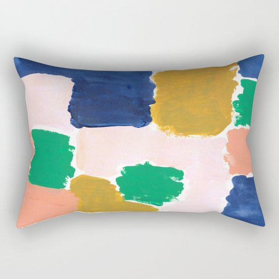 Shel - abstract painting boho modern bright minimal color palette gender neutral dorm college decor Rectangular Pillow
