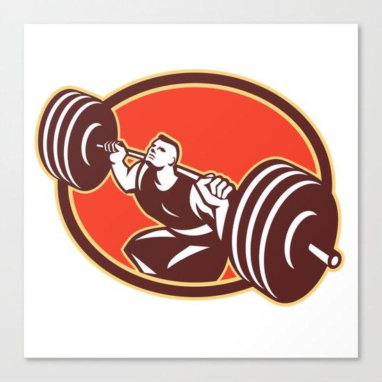 Weightlifter Lifting Barbells Cross-fit Retro Canvas Print