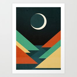 Quiet stream under crescent moon Art Print