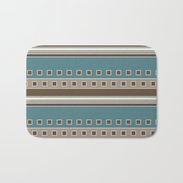 Squares and Stripes in Brown and Teal Bath Mat