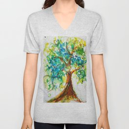 Gold Heart Tree Watercolor by CheyAnne Sexton Unisex V-Neck