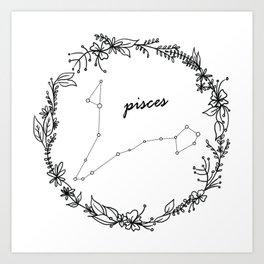 Floral Pisces Constellation Kunstdrucke