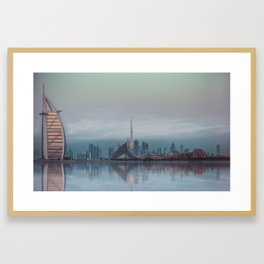 BLUE SKYLINE DUBAI Framed Art Print