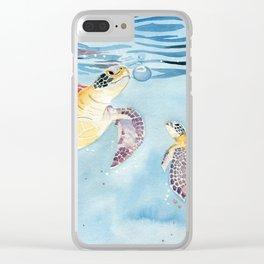 Take A Breath Sea Turtle Clear iPhone Case