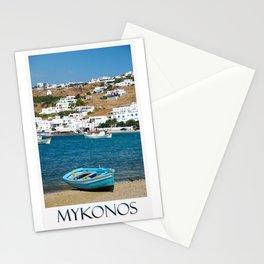 Blue Boat on Mykonos Island Greece Stationery Cards