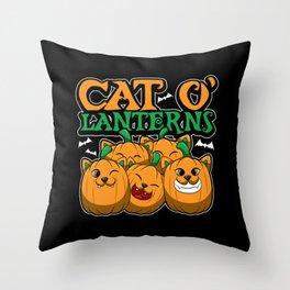 Cat O'Lanterns - Kitten Pumpkins - Feline Costume Throw Pillow