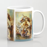 tigers Mugs featuring Little Tigers by Trudi Simmonds