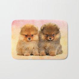 Cute Pomeranian Puppies Bath Mat