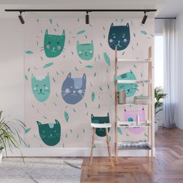 Little green cats on pink  Wall Mural
