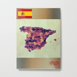 Spain Map with Flag Metal Print