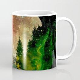Full moon and stars - green Coffee Mug