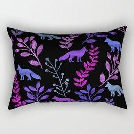 Watercolor Floral & Fox V Rectangular Pillow